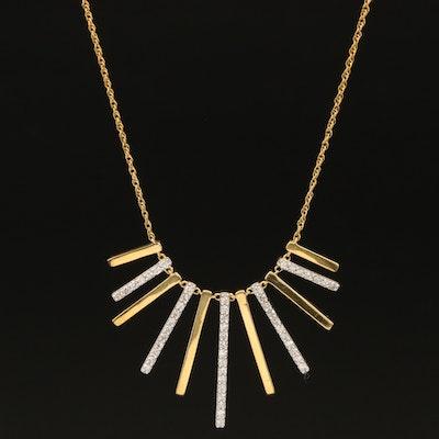 Sterling Diamond Fringe Bar Necklace