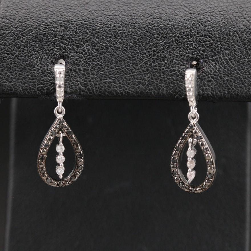 Sterling Teardrop Earrings with Cubic Zirconia