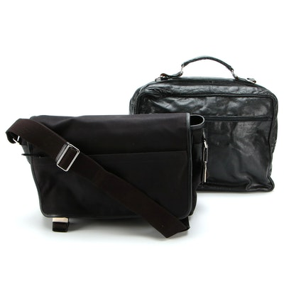 Coach Messenger Bag in Black Canvas and Leather, Kenneth Cole Briefcase