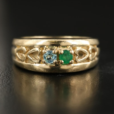 10K Emerald and Topaz Moi et Toi Openwork Heart Ring