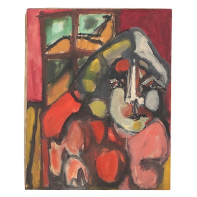 Bernice Fisher Stacy Abstract Figural Oil Painting, Mid-20th Century