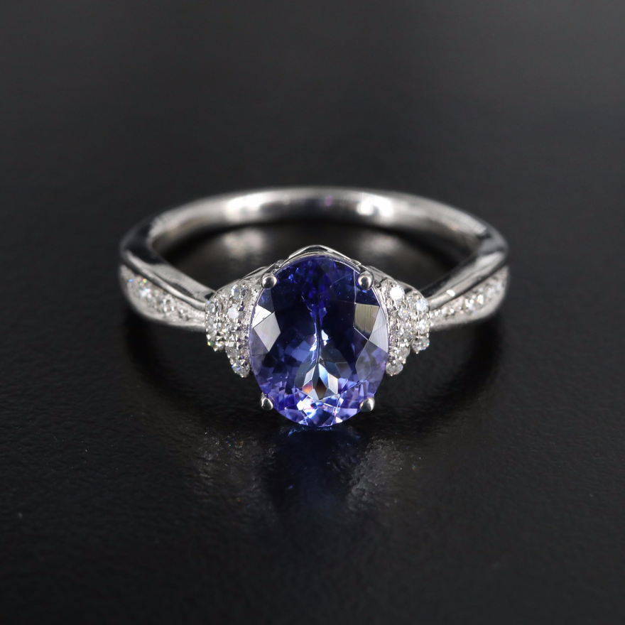 14K Tanzanite and 0.12 CTW Diamond Ring with Channel Set Shoulders