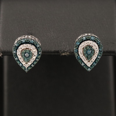 Sterling Diamond and Cubic Zirconia Earrings