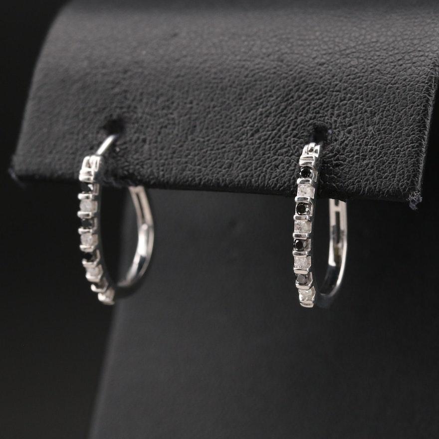 Sterling Diamond Elongated Hoop Earrings