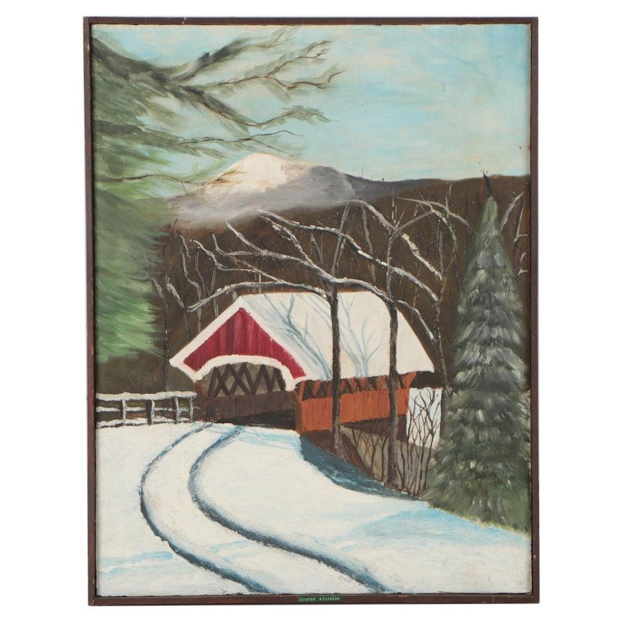 """Landscape Oil Painting """"Winter Splendar,"""" Late 20th Century"""