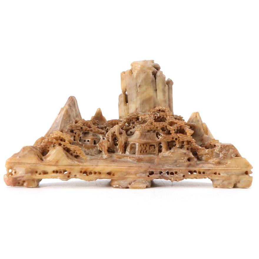 Chinese Carved Soapstone Village Landscape Figurine
