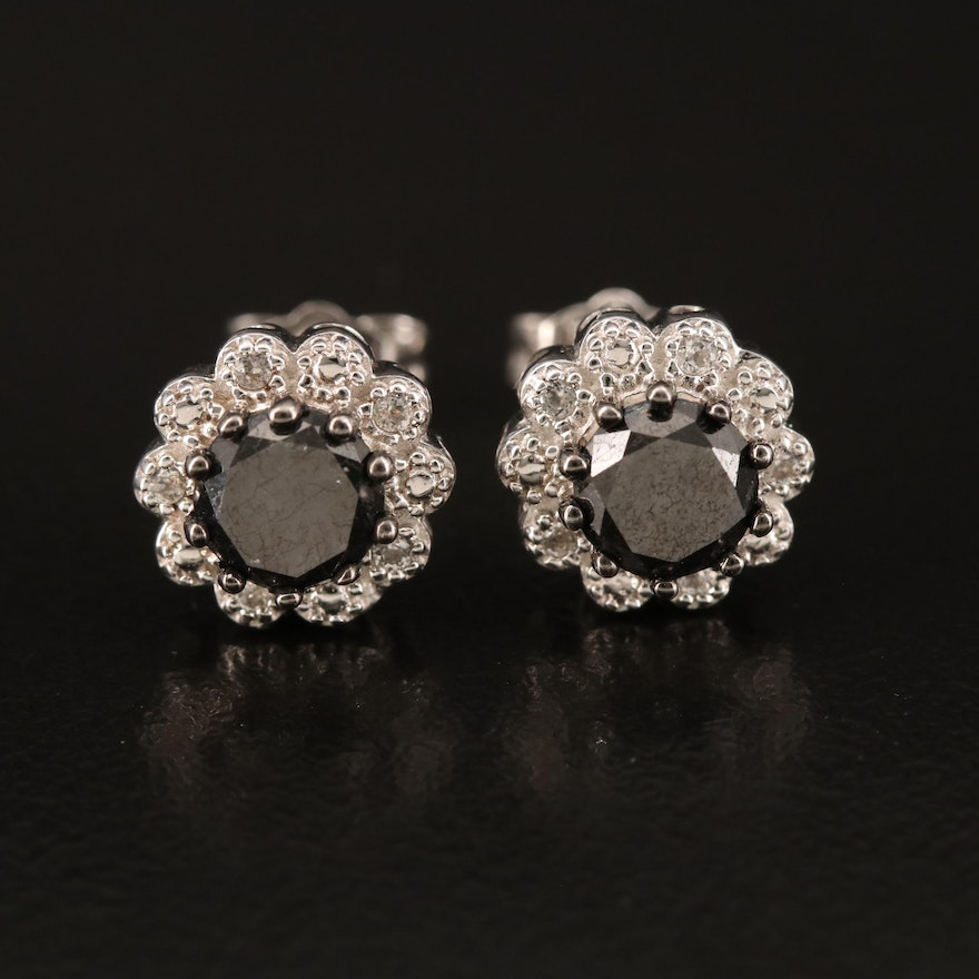 Sterling 1.00 CTW Diamond and Topaz Scalloped Stud Earrings