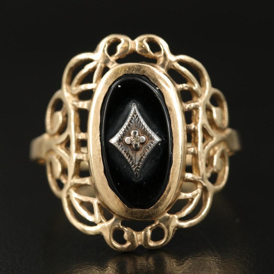 1940s Diamond and Black Onyx Openwork Ring in 10K