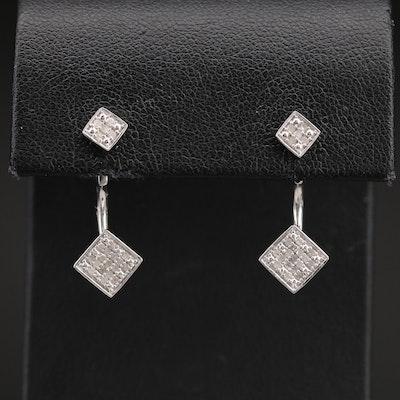 Sterling Diamond Square Stud Earrings and Earring Enhancers