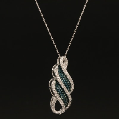 Sterling Diamond Scrollwork Pendant Necklace