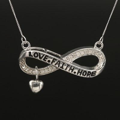 Sterling Diamond Infinity 'Love. Faith.Hope' Loop Pendant Necklace