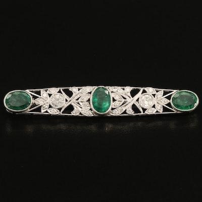 Vintage Platinum Emerald and 1.02 CTW Diamond Openwork Brooch