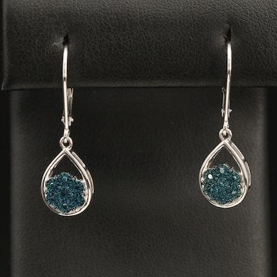 Sterling Diamond Cluster Drop Earrings