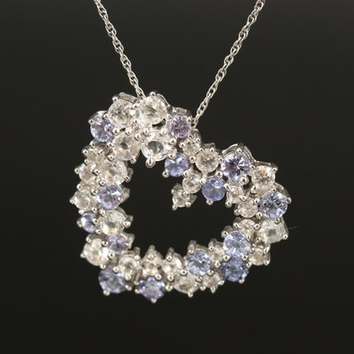 Sterling Tanzanite and Diamond Cluster Heart Pendant Necklace
