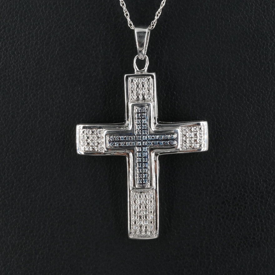 Sterling Cross Pendant Necklace with Cubic Zirconia
