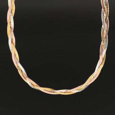 Italian Tri-Color Sterling Braided Herringbone Chain Necklace