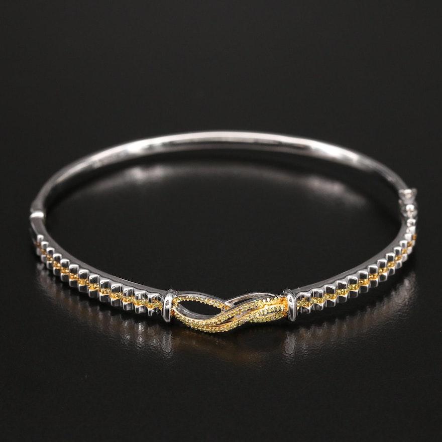 Sterling Diamond Infinity Bangle