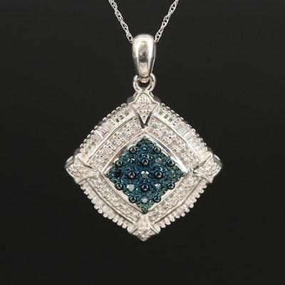 Sterling Pavé Diamond Pendant Necklace with Cubic Zirconia