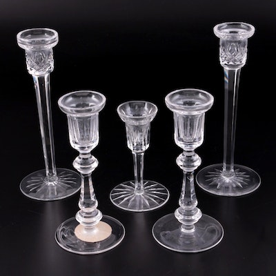 Waterford Crystal Single Light Candlesticks, Mid to Late 20th Century