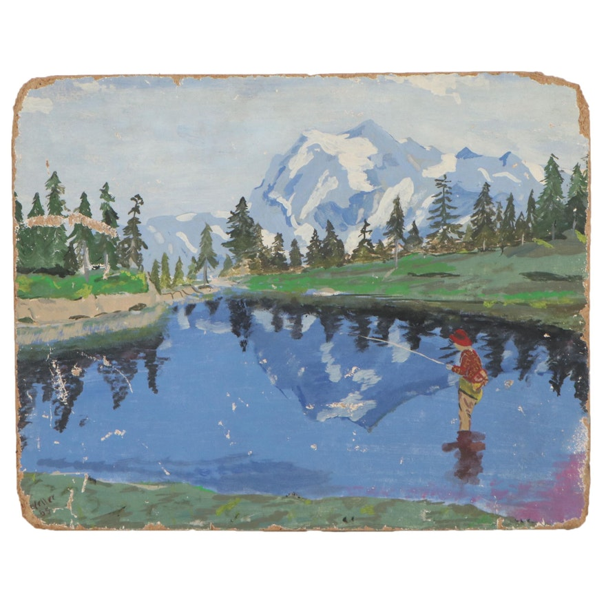 Landscape Oil Painting, 1955