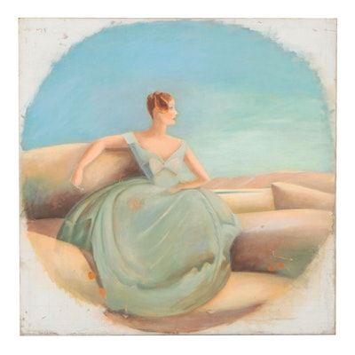 Oil Painting of Woman in Gown, Circa 2000