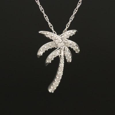 Sterling Diamond Palm Tree Pendant Necklace
