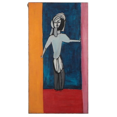 Bernice Fisher Stacy Large-Scale Figural Oil Painting, Late 20th Century