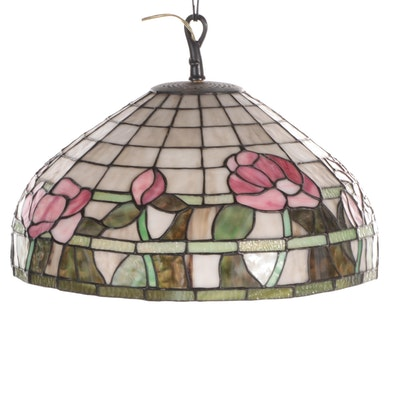 Pink and Green Slag Glass Floral Pendant Light