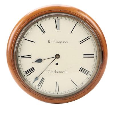 R. Simpson English Mahogany Wood Round Wall Clock, Antique