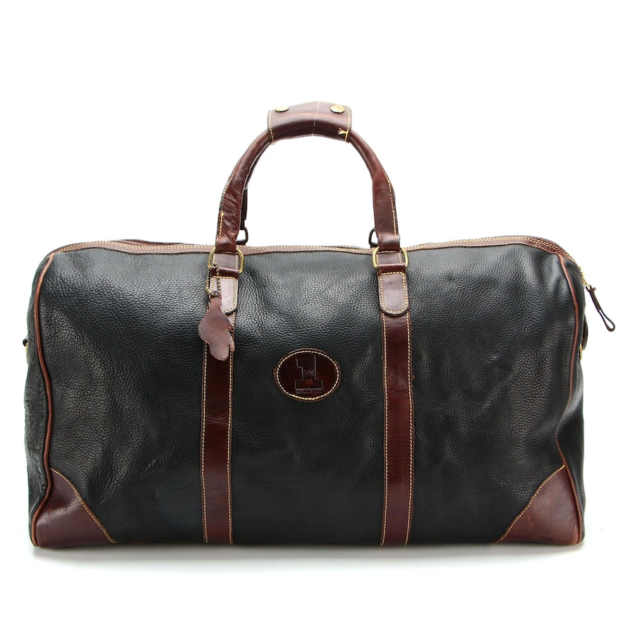 Roots Large Banff Travel Bag in Pebbled and Smooth Leather