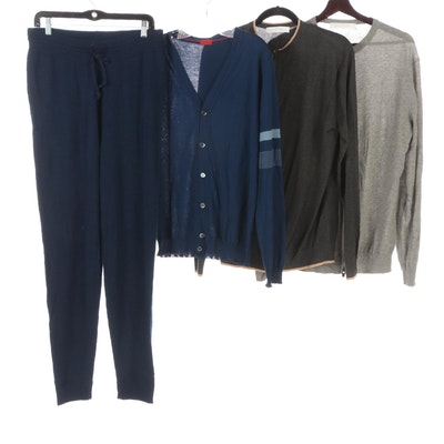 Nigel Curtiss Men's Zip Cardigans and Joggers in Cashmere and Isaia Cardigan