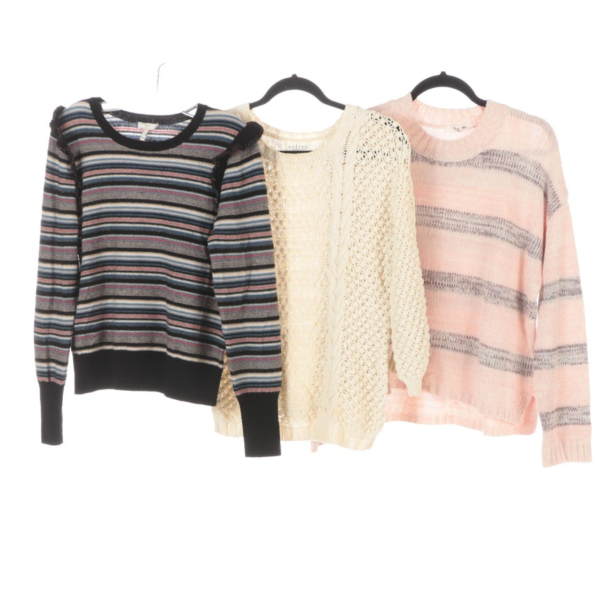 Joie Striped Sweater, Velvet Cotton Sweater, Splendid Striped Sweater