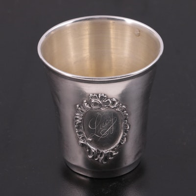 Art Nouveau French Sterling Silver Nip Cup, Late 19th to Early 20th Century