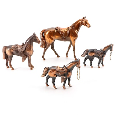 Cast Pot Metal Carnival Prize Horse Figurines, Mid-20th Century