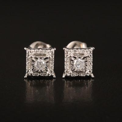Sterling Illusion Set Cubic Zirconia Stud Earrings