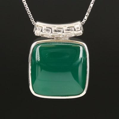 Sterling Chalcedony Slide Pendant Necklace