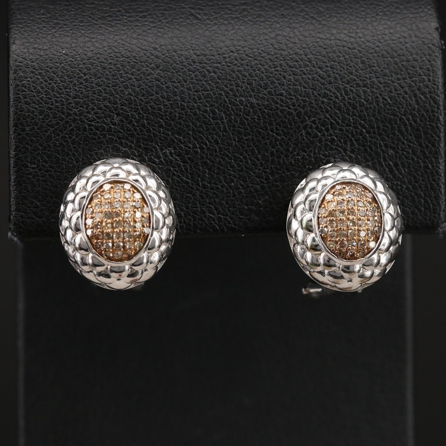 Sterling Pavé Brown Diamond Earrings with Scalloped Frames