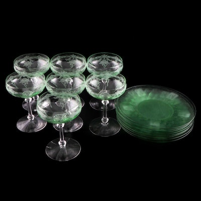 """Heisey Green Glass """"Empress"""" Coupes and """"Trojan"""" Salad Plates"""