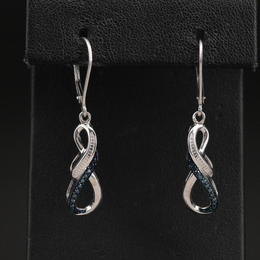Sterling Diamond Infinity Earrings