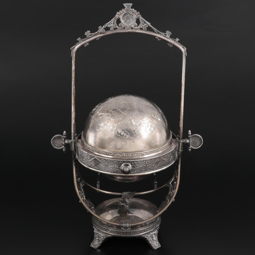 Aesthetic Movement Derby Silver Co.  Silver Plate Domed Butter Dish