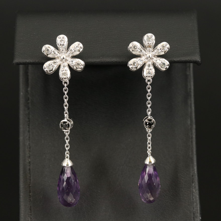 Sterling Amethyst, Spinel and Topaz Flower Earrings