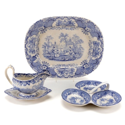 Davenport Gravy Boat with Other English Ironstone Platter and Relish Dish