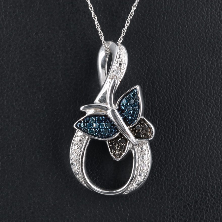 Sterling Butterfly Loop Pendant Necklace with Diamond Accents