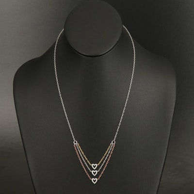 Sterling Cubic Zirconia Triple Heart Necklace