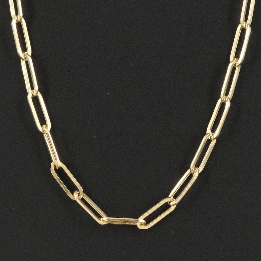 14K Paper Clip Chain Necklace