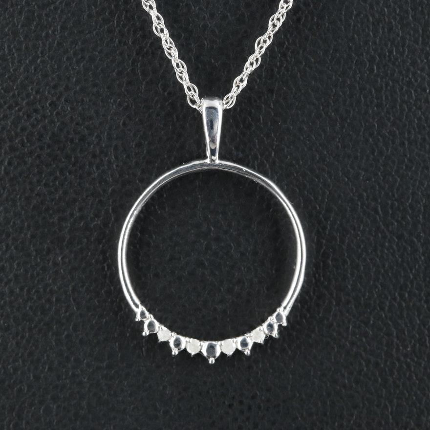 Sterling Diamond Hoop Pendant Necklace
