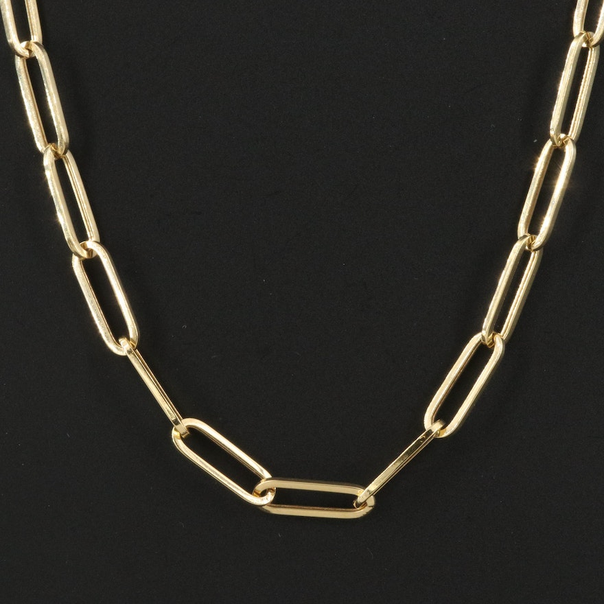 14K Oval Cable Link Necklace