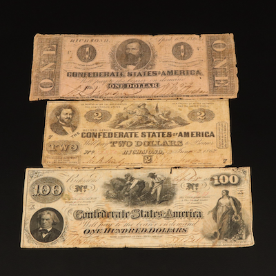 $100, $2, $1 Confederate States of America Banknotes