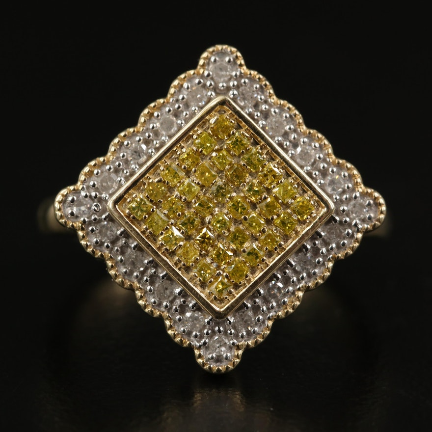 Sterling Pavé Diamond Ring with Scalloped Halo