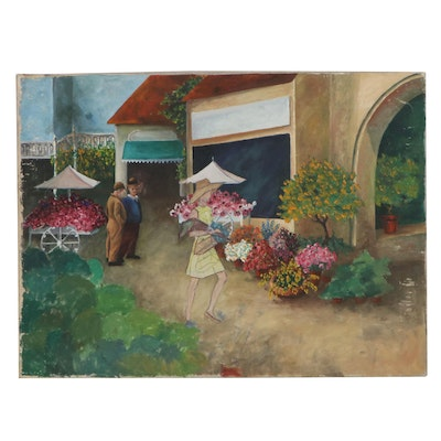 Oil Painting of Figures in a Flower Shop, Late 20th Century